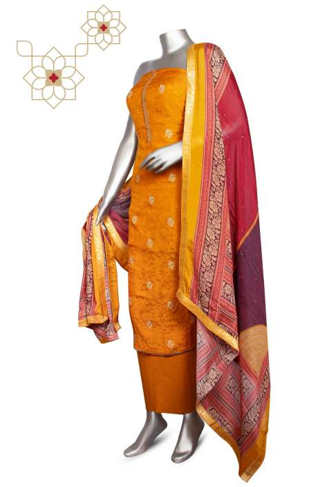 Modal Silk Jacquard Festive Special Designer Suit Sets In Mustard with Chinon Dupatta - ZOE0425