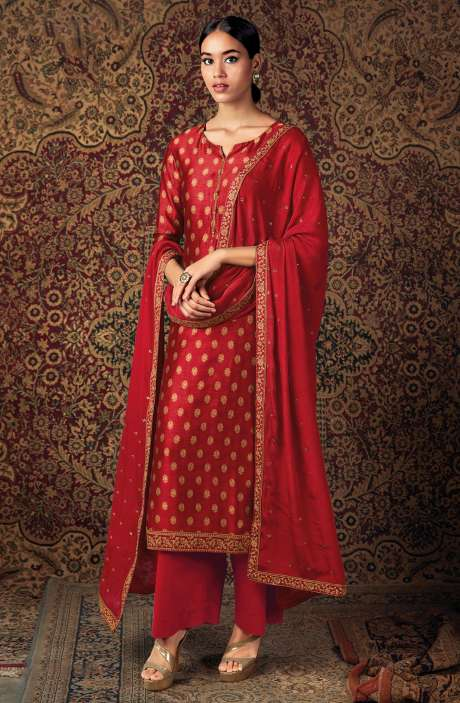 Beautiful Russian Silk Salwar Suit In Red with Chinon Dupatta - ZURS0226A