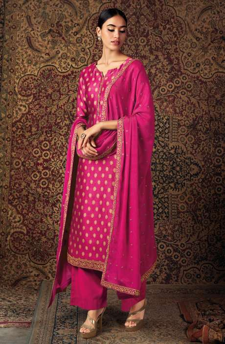 Beautiful Russian Silk Salwar Suit In Rani Pink with Chinon Dupatta - ZURS0226B