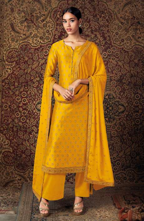 Beautiful Russian Silk Salwar Suit In Mustard with Chinon Dupatta - ZURS0226C