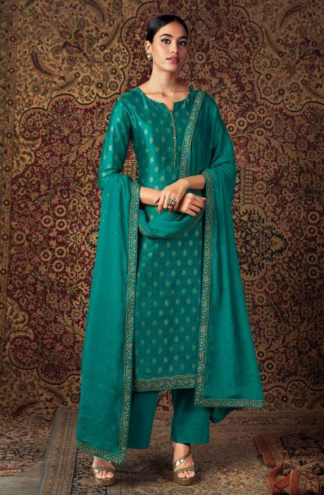 Beautiful Russian Silk Salwar Suit In Bottle Green with Chinon Dupatta - ZURS0226D